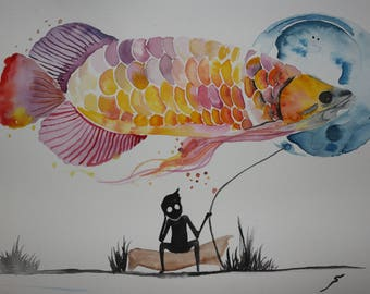 Original watercolor painting boy and the fish