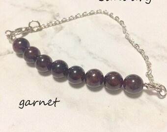 crystal healing Garnet bracelet/anklet/necklace, January birthstone bracelet  gemstone bar bracelet, crystal bar bracelet