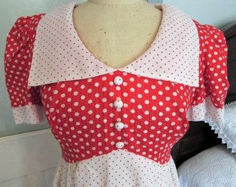 Vintage 1970's red polka dot maxi dress
