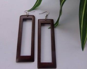 Elongated Rectangle Peek-A-Boo Wood Earrings in Coffee Pecan and Black Wooden Earrings Brown Natural Stained Wood Hoops