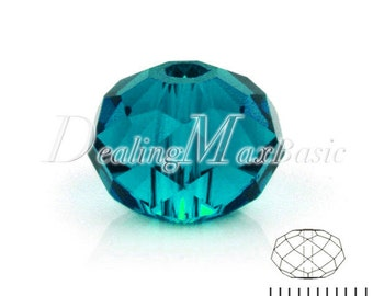 72Pcs 6.5x8mm Aqua Rondelle Crystal Beads Center Drilled DIY Jewelry CR0379-36