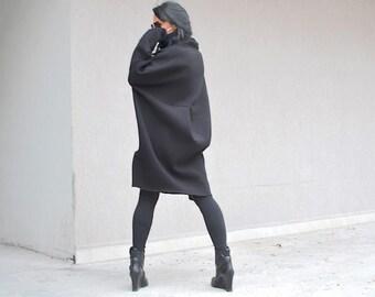 Oversize top dress, short winter dress, casual winter dress, oversize dress, black warm dress, winter dresses women, black clothing