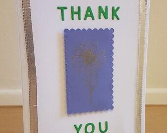 Handmade card - thank you - flower - envelope included