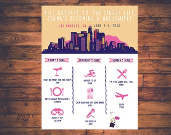 Bachelorette or Bachelor Party Invitation & Itinerary, Los Angeles CA Weekend Trip Real Housewives LA Themed Printable File!