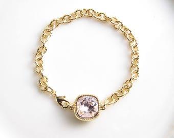 Swarovski Cushion Cut Bracelet ~ Square Crystal Bracelet ~ Vintage Rose ~ Bridesmaid Gift ~ Solitaire Bracelet ~ Chunky Bracelet