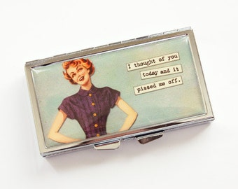 7 day pill box, Pill case, 7 day pill case, Retro pill case, Pill box, 7 sections, Pill container, funny pill case, gift for her (3961)