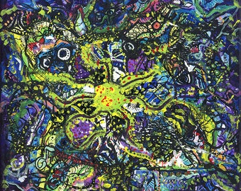 """Space Squid, Acrylic Painting, Abstract, 11""""x11"""" Giclee Print, Hand Signed"""
