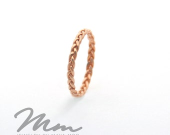 Rose Gold Wedding Ring Rose gold promise ring Rose Gold Braided Ring Rose Gold Twist Ring, Thin Rose Gold Ring 14K