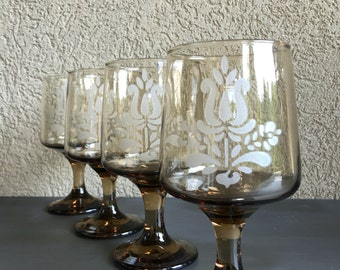 Pfaltzgraff Village Goblets Glasses Brown Etched Pedestal Vintage Set (4) - #D2024