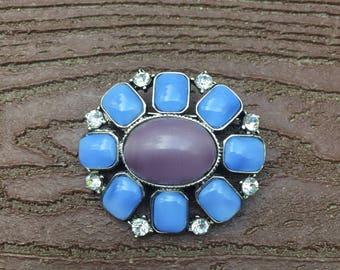Vintage Signed Liz Claiborne Blue Flower Pin Brooch