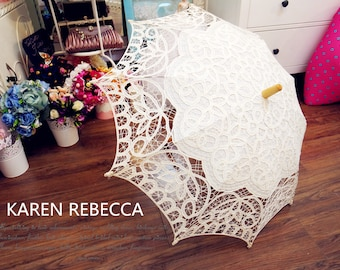 New Pattern Battenburg Lace Vintage Umbrella Parasol For Bridal Bridesmaid Wedding