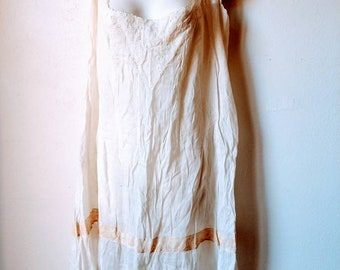 Antique chemise sheer cotton lawn lace above knee slip petticoat cream ivory S/M 19th 20th century