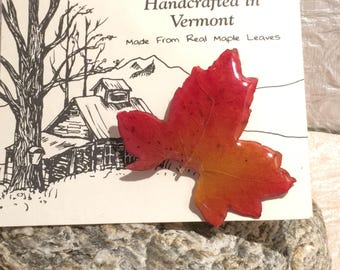 Vermont Handcrafted Real Maple Leaf Brooch