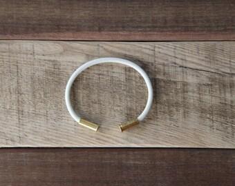 BRZN Bullet Casing Bracelet White recycled .22lr shells white 550 paracord wire men women