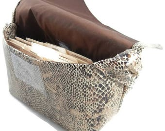Coupon Organizer Large Faux Snakeskin Ultrasuede Fabric, Ready to Ship