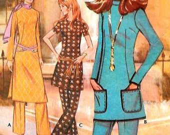 Mod 70s Tunic Top in 3 Lengths and Flared Pants, McCalls G 2629, Size 12 Bust 34, Pattern Promotional for Post Cereals 1970, Star Trek Chic