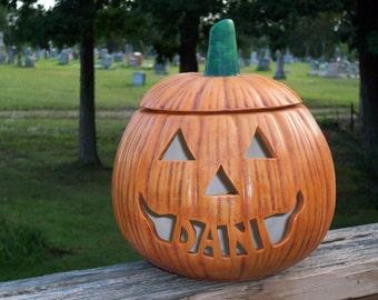 Personalized Ceramic Halloween Jack o Lantern Lamp Light TriAngle Eyes