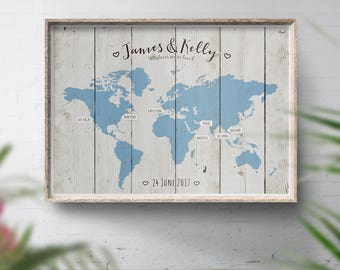 wedding guest book alternative world travel map wood style map travel map personalised theme wedding places weve been wedding map