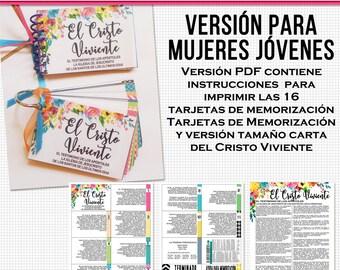 El Cristo Viviente-Tarjetas de Memorización Imprimibles para Mujeres Jóvenes   The Living Christ flash card printables in Spanish