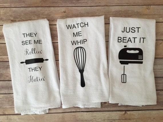 Custom Song Lyric Tea Towels Watch Me Whip Just Beat It