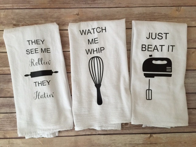 custom song lyric tea towels watch me whip just beat it