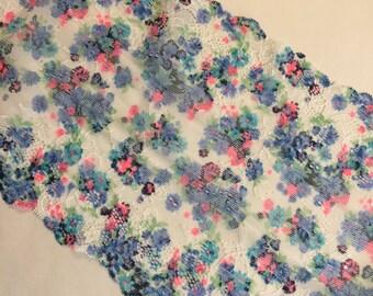 "7.75""/19.6 Blue Forgetmenots Coral Multi White Stretch Galloon Lace"