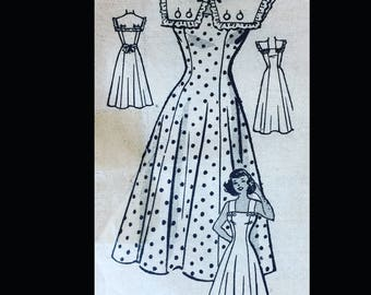 Vintage 50s SEXY Fitted Princess Seam Sailor Nautical Collar Sundress Sewing Pattern 3883 B30