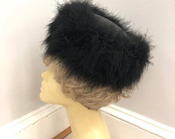 Vintage Black Marabou Feathers and Satin Hat, ca 1950s