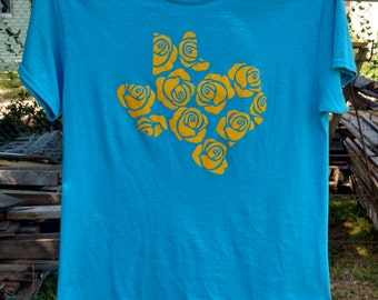 Yellow Rose of Texas t-shirt, Heathered Blue T-shirt, Yellow HTV, Texas tshirt