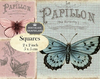 Butterflies Papillon Shabby Chic Butterfly 2x2 inch squares Instant Download digital collage sheet TW147