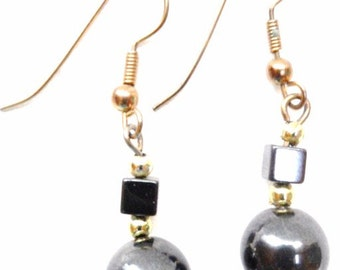 Vintage Hematite Bead  Earrings