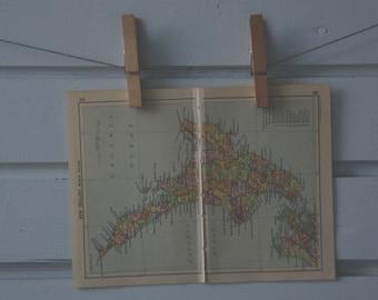 1910's Vintage New Zealand North Island Map