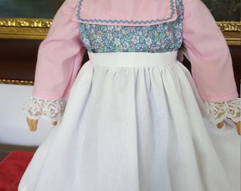 """Pink and blue colonial dress with Apron fit AG or 18"""" doll"""