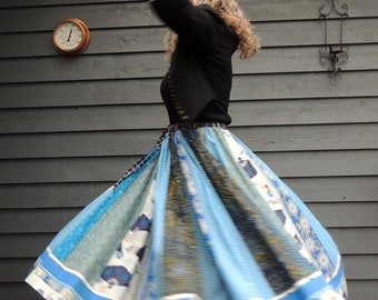 Patchwork Skirt, Long Panel skirt, Blue skirt