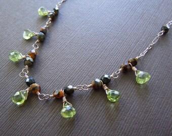 Peridot Caramel Swirl  Beaded Necklace - Sample Sale