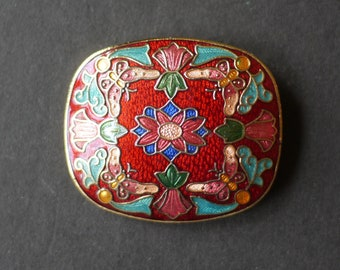 Cloisonne enamel red flower rectangular art nouveau style brooch