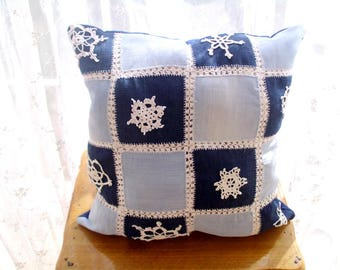 Denim Patchwork Cushion Pillow, Handmade Snowflake Embroidered Denim Pillow, Denim pillow case, Denim Pillow cover, Recycled denim, gift