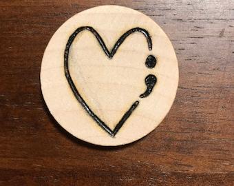 Semicolon Heart Keychain/Ornament