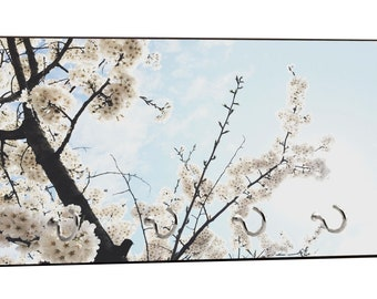 "White Flower Blossoms on Branches Design - 5"" by 11"" Key Hanger Household Decoration with Four Hooks"