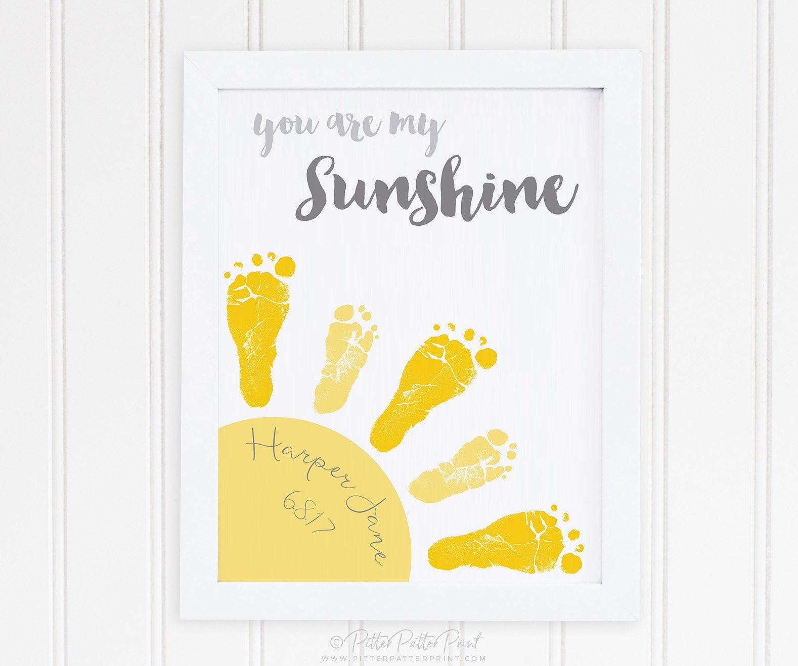 You Are My Sunshine Art New Baby Gift Footprint Custom