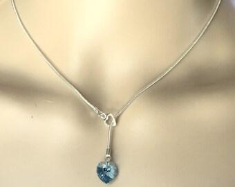 Sterling Silver Handmade Lariat Necklace with Swarovski Aquamarine Heart