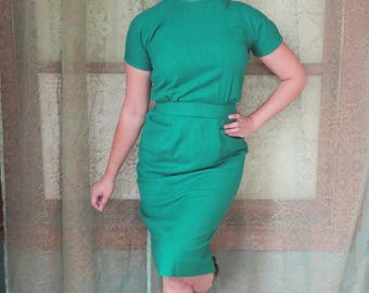 1950s Kelly Green Wool Wiggle Dress 50s Belted Dress 50s Fall Dress 1950s Wool Dress Holiday Dress Raglan Sleeves Mad Men Dress Stacy Ames