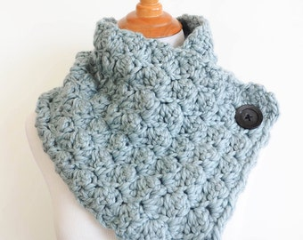 Button Down Crochet Scarf Pattern | Chunky Scarf Crochet Pattern | Easy Crochet Cowl Pattern | Neck Warmer | PDF Pattern | Instant Download