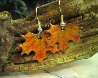 Earrings Maple leaves, leaf Maple, sugar maple, sugar maple leaf, enamels Diane Charuest, copper, orange