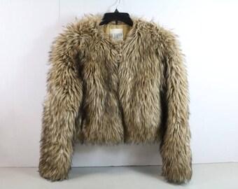 Tan BB Dakota Faux Fur Coat  Sz. S