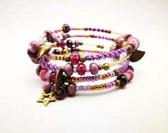 Multi strand purple to wrap around the wrist bracelet