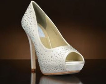 Wedding Shoes, Crystal Womens Shoes Silk 4 inch Heels Bridal Shoes Ladies Shoes Crystal Heels Womens Wedding Shoes Crystal Heels