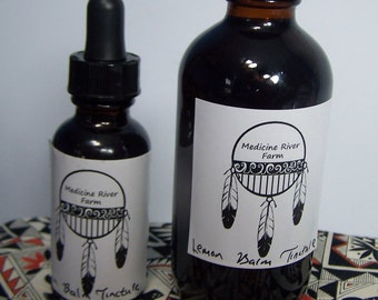 Lemon Balm Tincture Melissa officinalis herb extraction from whole USA farm grown plant - choose one ounce dropper bottle or 4 w/ cap