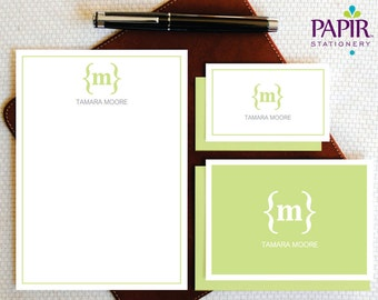 Monogram Stationery Personalized Stationary Set, PARENTHESIS MONOGRAM Note Cards + Envelopes Notepad 5x7, Sister in Law Gift for Her, MCS013