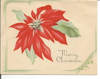 Vintage Set of 3 Christmas Cards Candles Poinsetta  Glitter